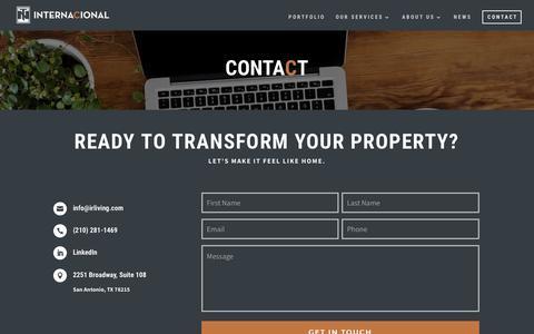 Screenshot of Contact Page internacionalrealty.com - Contact | Internacional Realty - captured Oct. 12, 2018