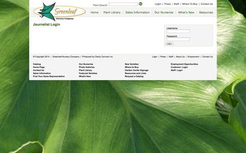 Screenshot of Press Page greenleafnursery.com - Greenleaf Nursery Press Login - captured Oct. 3, 2014