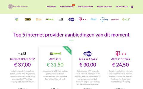 Screenshot of Home Page provider-internet.nl - Provider Internet - Een handige startpagina met relevante informatie van de beste internet providers - captured Oct. 19, 2018
