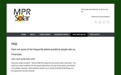 Screenshot of FAQ Page mprsolar.com - frequently asked questions - captured Sept. 30, 2014