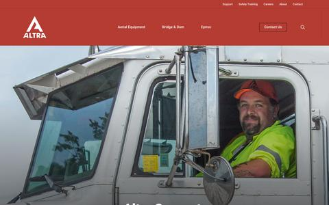 Screenshot of Support Page altrarentals.com - Service & Support for Construction Equipment | Altra Construction Rentals - captured Oct. 3, 2018