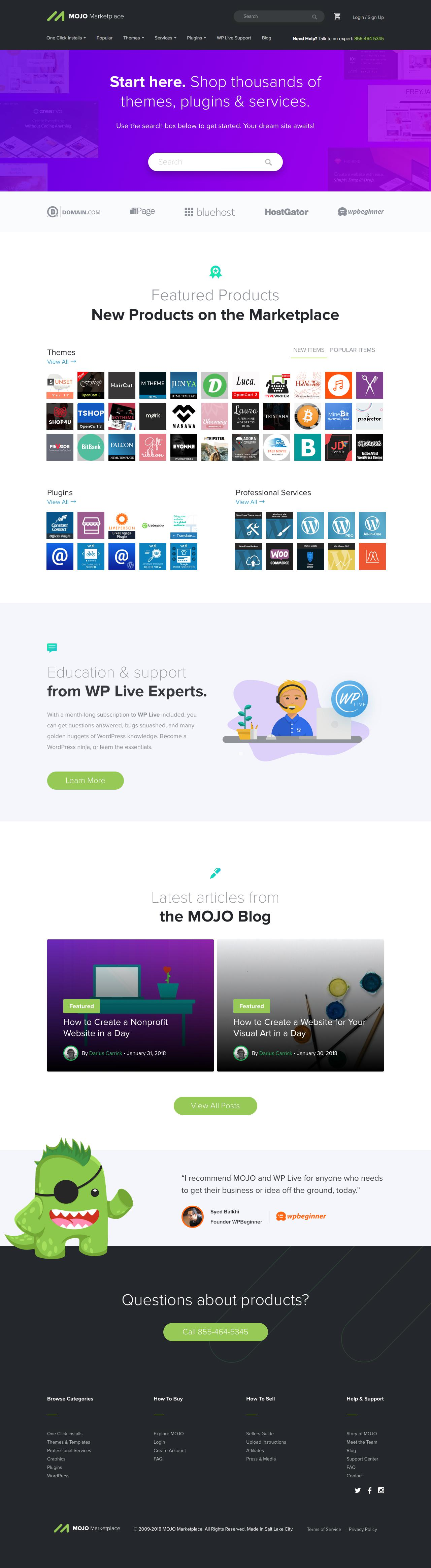 Screenshot of mojomarketplace.com - MOJO Marketplace - Website Themes, Services, Plugins & Support - captured March 17, 2018