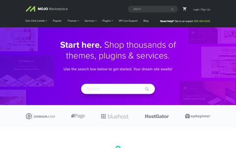 Screenshot of Home Page mojomarketplace.com - MOJO Marketplace - Website Themes, Services, Plugins & Support - captured March 17, 2018