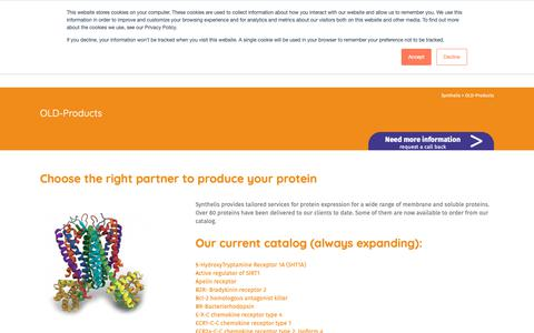 Screenshot of Products Page synthelis.com - Cell-free Protein: CxCR4, KMO - Synthelis - captured Dec. 8, 2018