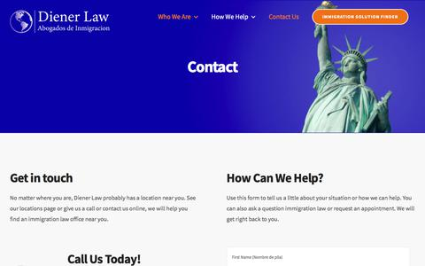 Screenshot of Contact Page dienerlaw.net - Contact - Immigration Attorneys - captured Oct. 6, 2019