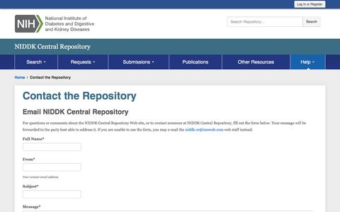 Screenshot of Contact Page nih.gov - Contact the Repository - captured March 25, 2018