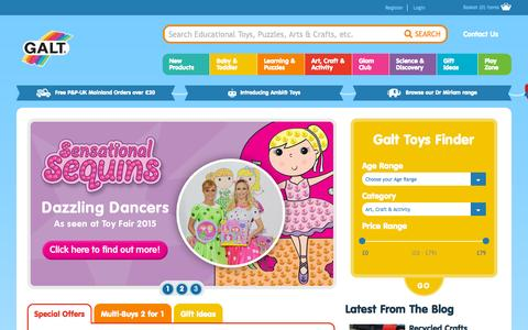 Screenshot of Home Page galttoys.com - Educational Toys for Children | Galt Toys - captured Sept. 26, 2015