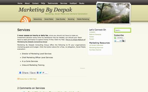 Screenshot of Services Page marketingbydeepak.com - Free Social Media Evaluation   Social Media Consulting Services - captured Oct. 3, 2014