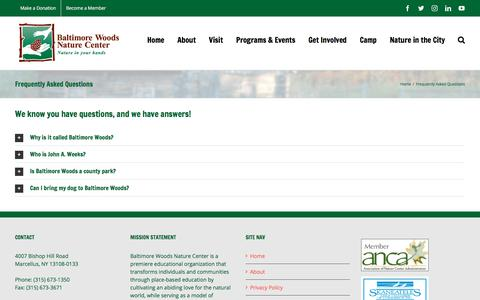 Screenshot of FAQ Page baltimorewoods.org - Frequently Asked Questions – Welcome to Baltimore Woods Nature Center | Nature in Your Hands - captured Oct. 9, 2017