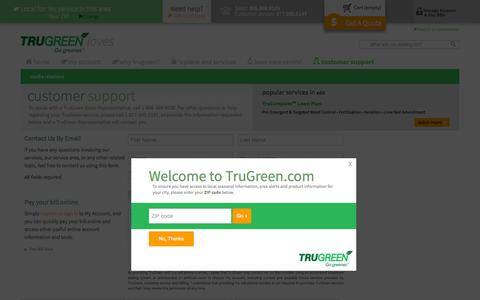 Screenshot of Contact Page Support Page trugreen.com - TruGreen Customer Support | TruGreen - captured Oct. 25, 2014
