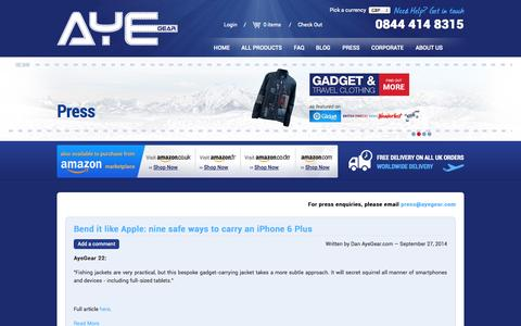 Screenshot of Press Page ayegear.com - AyeGear Press | Unique Travel Apparel with Concealed Pockets - captured Sept. 30, 2014