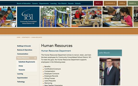 Screenshot of Jobs Page d181.org - Human Resources - Community Consolidated School District 181 - captured Sept. 29, 2018