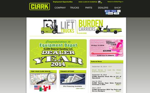 Screenshot of Home Page Support Page clarkmhc.com - CLARK Material Handling Company - captured Sept. 25, 2014