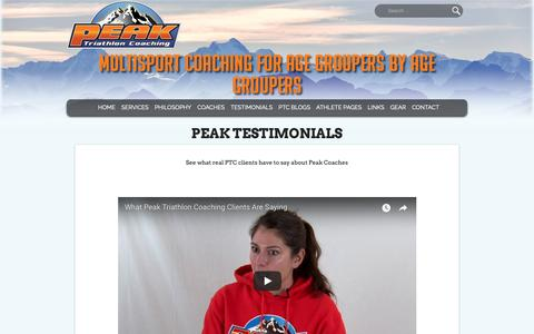 Screenshot of Testimonials Page peaktricoaching.com - Peak Testimonials - Peak Tri Coaching - captured Sept. 27, 2018