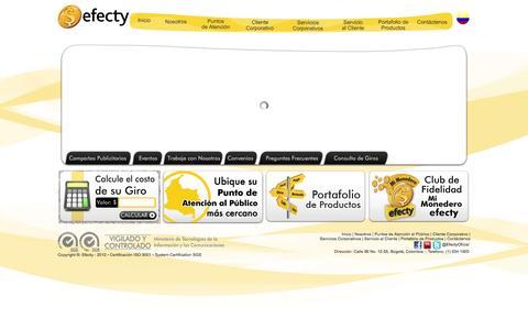 Screenshot of Home Page efecty.com.co - Efecty - Giros Nacionales - Giro Internacional - Pagos - Recaudos - Caja - Venta - Recargas - captured Sept. 23, 2014