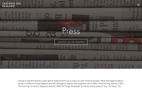 Screenshot of Press Page crowdsondemand.com - Press — Crowds On Demand - captured July 18, 2018