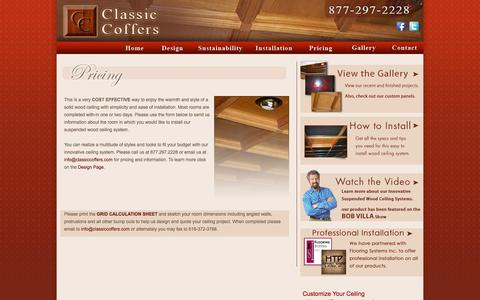 Screenshot of Pricing Page classiccoffers.com - Coffered Ceiling, Wood, Drop, Suspended Ceilings, Panels and Tiles - captured Oct. 2, 2014