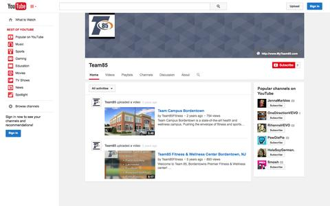 Screenshot of YouTube Page youtube.com - Team85  - YouTube - captured Oct. 26, 2014