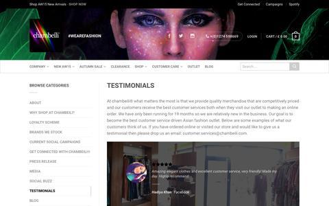 Screenshot of Testimonials Page chambeili.com - Testimonials | chambeili® - captured Dec. 14, 2015