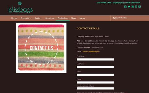 Screenshot of Contact Page blissbags.in - Bliss Bags | Soft Furnishings | Contact Us - captured Feb. 7, 2016