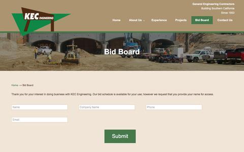 Screenshot of Signup Page kecengineering.com - Bid Board – KEC Engineering - captured Sept. 20, 2018