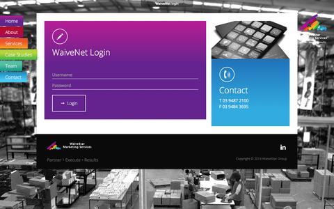 Screenshot of Login Page waivestar.com.au - Login   WaiveStar - Supply Chain - Print - Management Services - captured Jan. 10, 2016
