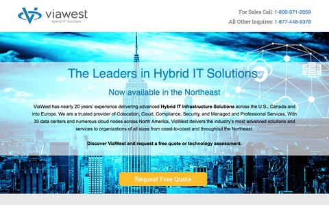 Screenshot of Landing Page viawest.com - Now in the Northeast | ViaWest Hybrid IT Solutions - captured July 30, 2016