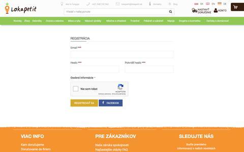 Screenshot of Signup Page lokapetit.sk - lokapetit.sk - captured July 22, 2018