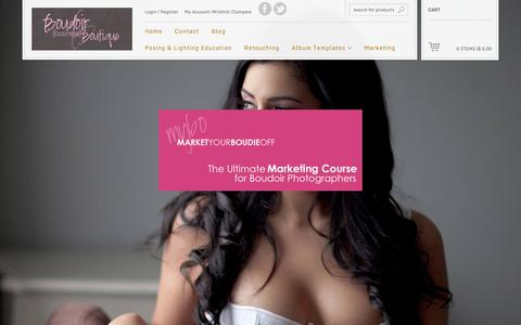 Screenshot of Home Page boudoirbusinessboutique.com - Boudoir Business Boutique | Posing Lighting Marketing for Boudoir Photographers - captured Jan. 7, 2016