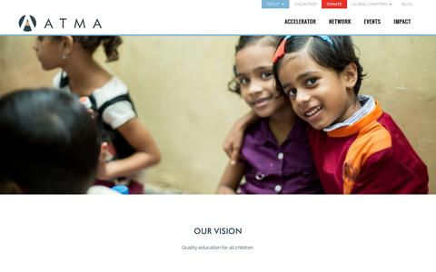 Screenshot of About Page atma.org.in - Capacity Building for NGOs, Education NGOs in Mumbai, Top NGOs in Mumbai   ATMA   Education NGO Accelerator, NGO Accelerators, Volunteer for Education Mumbai - captured Feb. 6, 2016