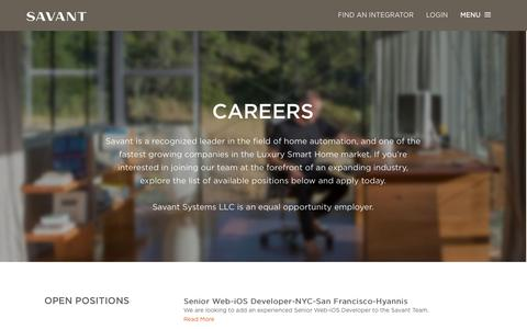 Screenshot of Jobs Page savantsystems.com - Savant Career & Employment Opportunities | Home Automation - captured Sept. 19, 2014