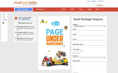 Screenshot of Blog About Page Press Page Login Page Testimonials Page mustseeindia.com - About India, India Travel Guide, Holiday Packages, Tour & Travel Packages - captured July 13, 2018