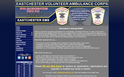 Screenshot of Signup Page eastchesterems.com - Eastchester Volunteer Ambulance Corps - Westchester, NY - captured Oct. 19, 2016