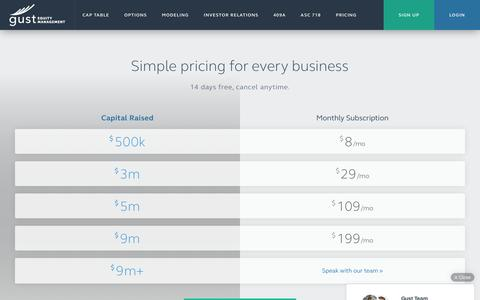 Screenshot of Pricing Page gust.com - Gust Equity Management - Simple pricing for every business - captured March 30, 2016