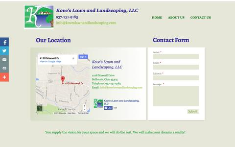 Screenshot of Contact Page koveslawnandlandscaping.com - Kove's Lawn and Landscaping Contact Us - captured Oct. 6, 2014