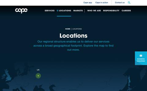 Screenshot of Locations Page capeplc.com - Cape plc | Locations - captured July 15, 2018