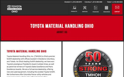 Screenshot of About Page tmhoh.com - How we became Toyota Material Handling Ohio - About us TMHOH - captured Nov. 8, 2017