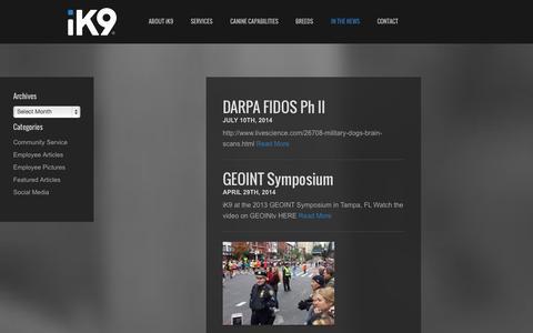 Screenshot of Press Page ik9.com - In The News - iK9 - captured Sept. 30, 2014