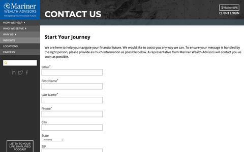 Screenshot of Contact Page marinerwealthadvisors.com - Contact Us - captured June 15, 2019