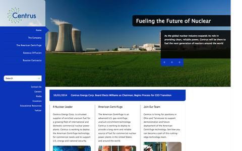 Screenshot of Home Page usec.com - home | Centrus Energy - captured Oct. 6, 2014
