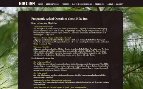 Screenshot of FAQ Page hike-inn.com - Hike Inn › Frequently Asked Questions - captured May 4, 2016