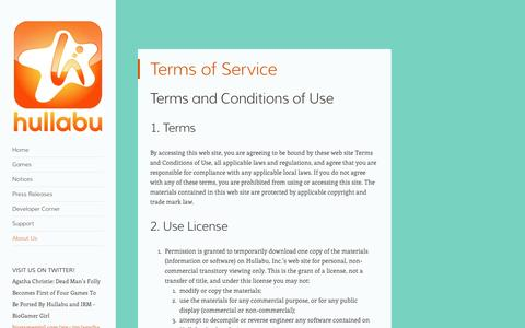 Screenshot of Terms Page hullabu.com - Terms of Service | hullabu - captured Oct. 3, 2014