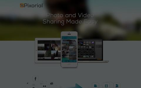 Screenshot of Home Page Signup Page pixorial.com - Pixorial Photo & Video Sharing Without Limits - captured Sept. 23, 2014