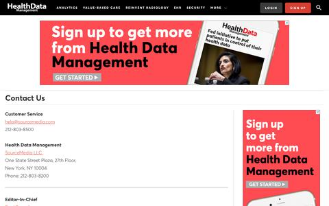Screenshot of Contact Page healthdatamanagement.com - Contact HDM Editors, Sales Staff & Publisher | Health Data Management - captured Jan. 20, 2020