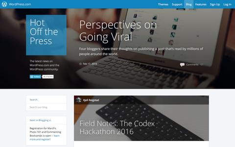 Screenshot of Blog wordpress.com - WordPress.com News - captured Feb. 24, 2016