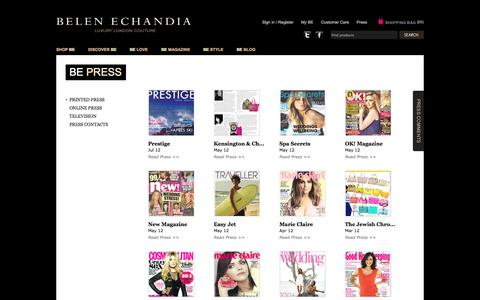 Screenshot of Press Page belenechandia.com - Custom Handbags, Purses, Wallets, Belen Echandia - captured Sept. 30, 2014