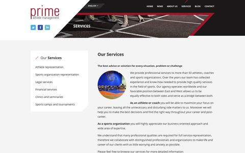 Screenshot of Services Page prime-athlete.com - Services - PRIME Athlete Management - PRIME Athlete Management - captured Oct. 1, 2014