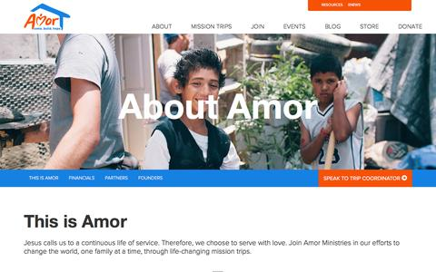 Screenshot of About Page amor.org - About Us - Mission Trips with Amor Ministries - captured Oct. 4, 2014