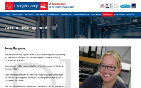 Screenshot of Team Page carryliftgroup.com - Account Management - Carrylift Group - UK's Number One For Forklift Trucks, Specialists in Material Handling - captured Dec. 14, 2018
