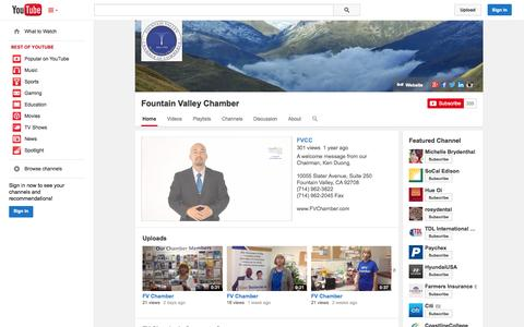 Screenshot of YouTube Page youtube.com - Fountain Valley Chamber  - YouTube - captured Oct. 23, 2014